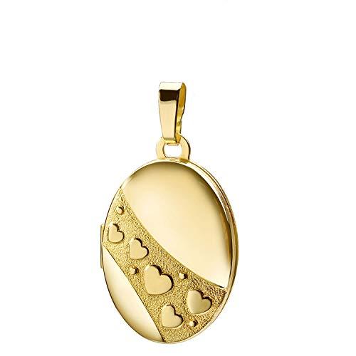 Haus der Herzen® Medaglione ovale con cuori, oro 333, per la festa della mamma, San Valentino, amuleto, con custodia e 8 carati (333) oro giallo, senza catenina, cod. 8462_1