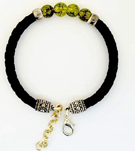Armband aus echt Leder mit echten Olivin Steinen von Lanzarote (Handarbeit)