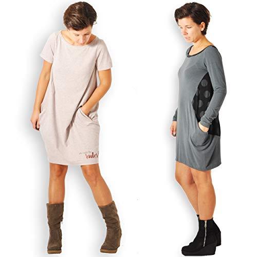 leni pepunkt Schnittmuster Kleid Damen mit Nähanleitung in den Größen XS - XXXL zum Nähen mit Kurzanleitung und 5 Webetiketten
