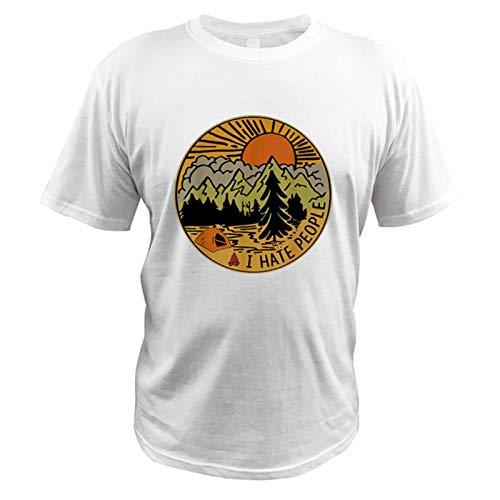 I Hate People T Shirt Love Camping Funny Hiking Retro T-Shirt Digital Print Unisex Comfortable Crew Neck tee 100% Cotton Shirt-White 2,XXL