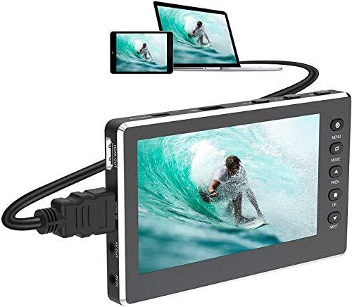 """Convertidor de captura de vídeo, HD 1080P 60FPS Conversor de video USB 2.0 con pantalla OLED de 5 """", Grabadora de video AV y HDMI Captura de VCR, DVD, cintas VHS, Hi8, videocámaras, sistemas de juegos"""