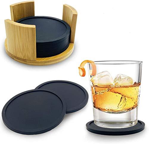YAOYIN Silikon Untersetzer Gläser - 8er Rund Schwarz Untersetzers mit Einem Modernen Bambus Behälter Getränkeuntersetzer Coasters für Heiße Tassen, Getränke, Teetassen - Premium Tischuntersetzer