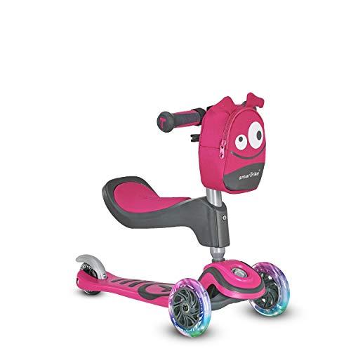 Scooter by smarTrike T1 Kinderscooter mit Sitz, Leuchträder und Snacktasche Scooter - Kinderroller, pink mit LED-Rädern und Zubehörtasche, S