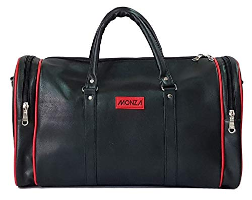 MONZA Faux Leather Travel Duffel |Black/RED Strips|