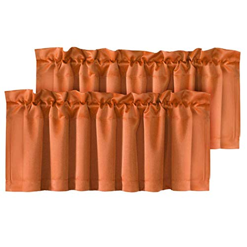 H.VERSAILTEX 2 Panels Blackout Curtain Valances for Kitchen Windows/Bathroom/Living Room/Bedroom Privacy Decorative Rod Pocket Short Winow Valance Curtains, 52