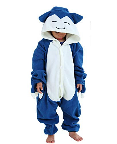 Unisex Child Pajama Plush Onesie One Piece Animal Costume Kids Fleece Pajamas (120(Height:45'-49'),A-Snorlax)