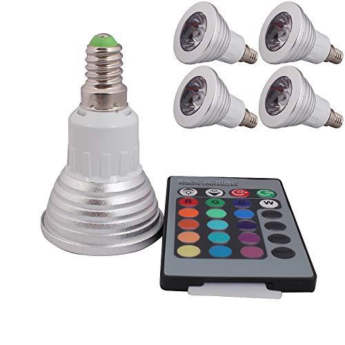4 Stück E14 3W LED RGB Lampe Birne & Leuchtmittel SMD LEDs LED farbwechsel Licht Leuchtmittel mit IR-Fernbedienung (180lm, AC 85-265V, 50 x 78mm) - multicolor dimmbar inklusive Infrarot - Ferbedienu