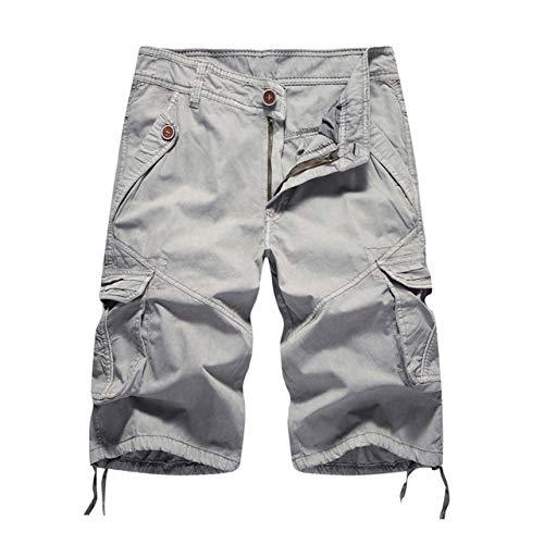 Nessuno Marca Mens Militare Cargo Shorts Nuovo Esercito Camouflage Pantaloncini Tattici Uomini Cotone Allentato Lavoro Casual Pantaloni Corti Plus Size 502bianco grigio W32