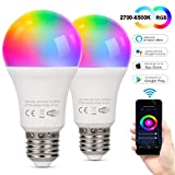 TAOCOCO Bombilla LED inteligente WiFi con luz cálida Luz de color variable 2700k-6200k + RGB,Compatible con Alexa, Echo, Google Home e IFTTT, E27 9W RGB Color Cambio Bombilla, 2 PCS