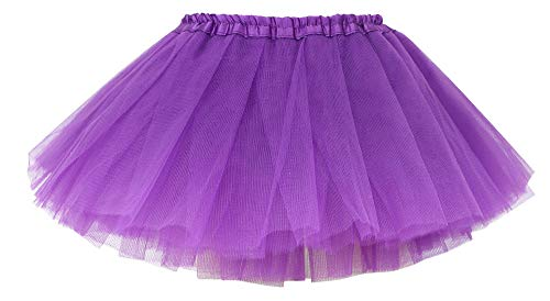 Simplicity Little Girls 4 Layers Tulle Tutu Princess Ballet Skirt, Purple, 2-8 Years
