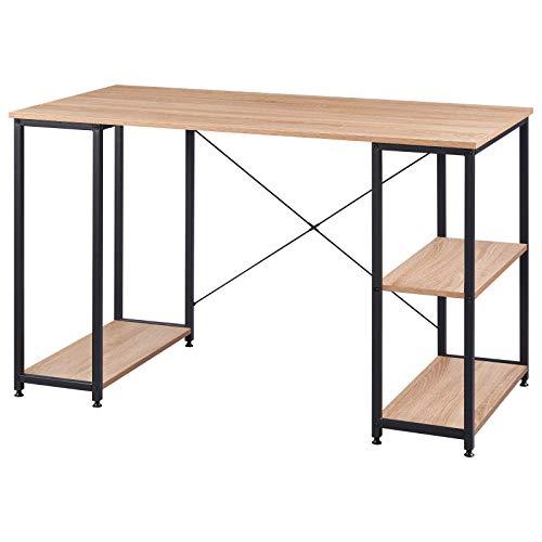 WOLTU TSB31she Schreibtisch Computertisch Büromöbel PC Tisch Bürotisch Arbeitstisch aus Holz und Stahl, mit Ablage, ca. 120x60x75 cm