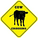 BESTWD Aluminum Cross Sign Cow Crossing Style C Metal Wall Decor - 12'x12'
