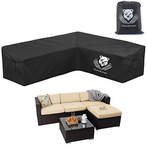 ClawsCover Sectional Sofa Covers Waterproof Outdoor L-Shaped Heavy Duty Patio Furniture Couch Cover Protector,2 Air Vents,6 Windproof Straps, Right Facing