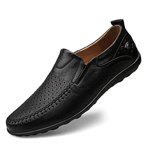 Men Shoes Casual Luxury Brand 2019 Genuine Leather Italian Men Loafers Mens Boat Shoes,Hollow Out Black,8.5