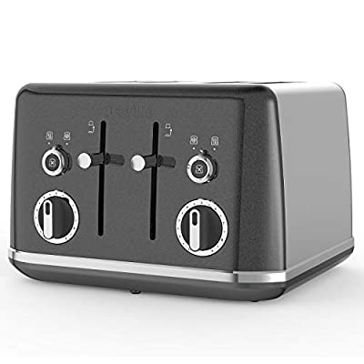 Breville Lustra 4-Slice Toaster with High Lift, Wide Slots and Independent 2-Slice Controls, Storm Grey [VTT853]
