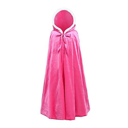 HUBA Kinder Mädchen Prinzessinnen Umhang Prinzessinnen einfarbigen Cape Prinzessin Kostüm Prinzessin Umhang mit Kapuze warmen dicken Mantel Outwear(3-12 Jahre)