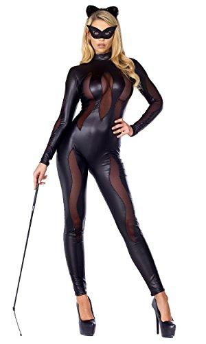 Forplay Luscious Lynx Catsuit für Damen mit Netzeinsätzen und Stirnband - Schwarz - Small-Medium