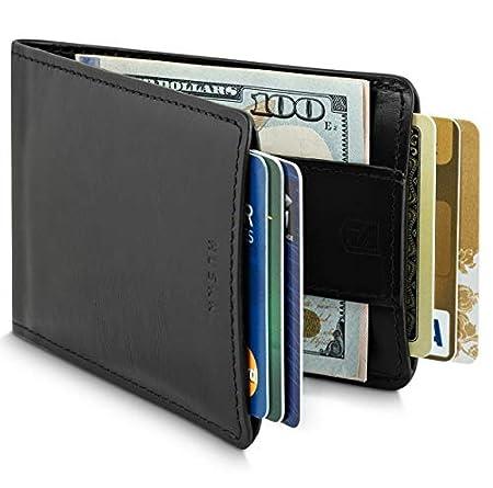 Slim Front Pocket Leather RFID Wallet for Men with Strap Money Clip Premium...