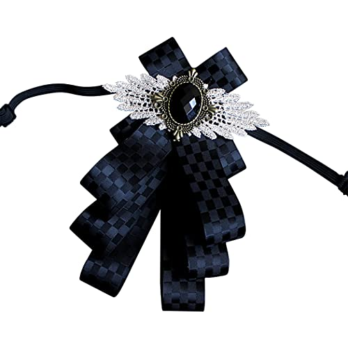 COSYOO Checked Lightweight Party Plaid Simple Fashion Elegant Brooch Pin Bow Adjustable Decorative Checked Formal Ribbon Bow Tie Shirt Bow Pin for Men
