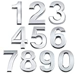 ABSOFINE 20Pcs Mailbox Numbers 3D 2.8'' Self-adhesive Door House Numbers Stickers Street Address Numbers Mailbox Sign for Home Office Room, 0-9, Silver