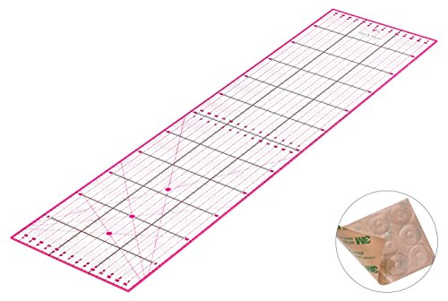 Guss & Mason Patchwork Lineal 60x15cm mit gratis Anti Rutsch Aufklebern. Transparentes Universal Lineal mit cm und Winkel-Maßen