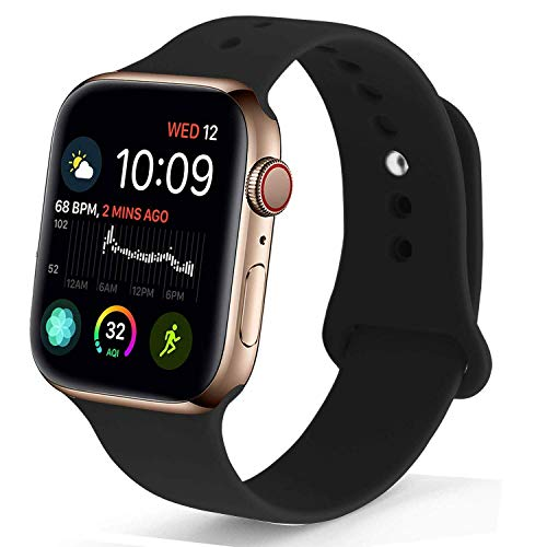 NUKELOLO Sport Band Compatible with Apple Watch 38MM 40MM 42MM 44MM,Soft Silicone Replacement Strap Compatible for Apple Watch Series 4/3/2/1 (Black, 38mm (40mm) s/m)