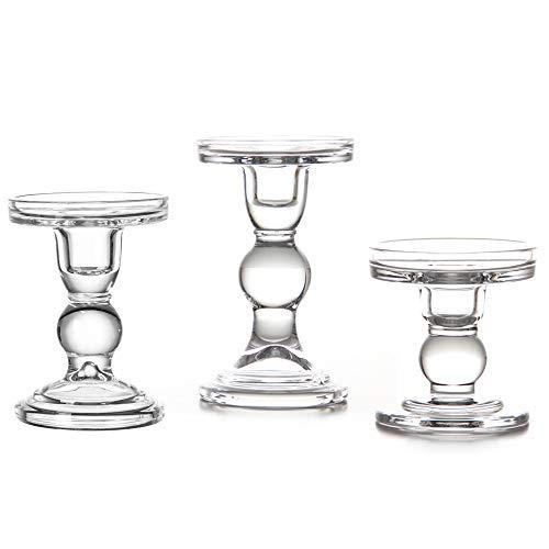 VKTY Kerzenhalter aus klarem Glas für 3 Stumpenkerzen und 3/4 Spitzkerzen, Teelichthalter aus Glas, 3 Stück, ideal für Hochzeits-Dekoration und Heimdekoration