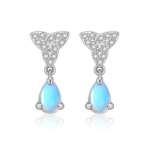 Moonstone Earrings Celtic Knot Teardrop Dangle Earrings 925 Sterling Silver Plated Ireland Jewelry Gifts for Women Girls Hypoallergenic Earrings for Sensitive Ears