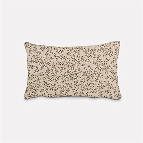 SCHÖNER LEBEN. Federa per cuscino in lino, con piccoli rami di foglie, colore verde naturale, diverse misure, dimensioni federe per cuscino: 30 x 50 cm (altezza x larghezza)