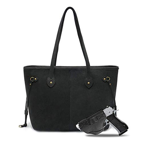Large Real Leather Concealed Carry Tote Bag For Women Shoulder Handbag Fashion CCW Purse With Gun for women Holster USA-MWL-G002BK