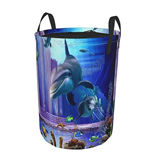 Zusammenklappbar Groß Wäschekorb für den Haushalt,3d Oceanic Dolphins Turtle Fish Coral,Lagerplatz Wasserdicht mit Kordelzug,16.5' x 21.6'