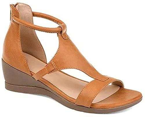 hwljxn Plataforma de Mujeres y Sandalias de cuña, Zapatos de Mujer con tacón de Pendiente versátiles Sandalias de Plataforma Informal para Mujeres (Color : Brown, Size : 39)