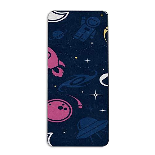 Pinlg Space Galaxy Rockets Astronautas Esterilla de yoga antideslizante para gimnasio en casa, gimnasio, ejercicio, pilates, fitness esterillas para mujeres y niños, 72 x 32 pulgadas, color multicolor, tamaño 72x24 inch