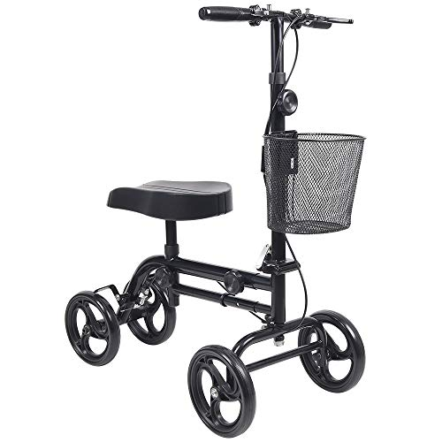 Knee Scooter Give Me All Terrain Foldable Steerable Deluxe Medical Knee Walker for Broken Leg, Foot, Ankle Injuries Crutch Alternative with Basket and Dual Hand Brake (Black)