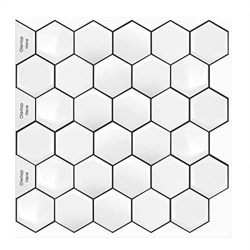 MORCART Fliesenaufkleber Selbstklebende Fliesendekor Aufkleber Backstein 3D Hexagon Wallpaper Küchenschränke Badezimmer Kamin Bodentreppe Abnehmbar Wasserdicht für Küche und Bad (MT1069, 10)