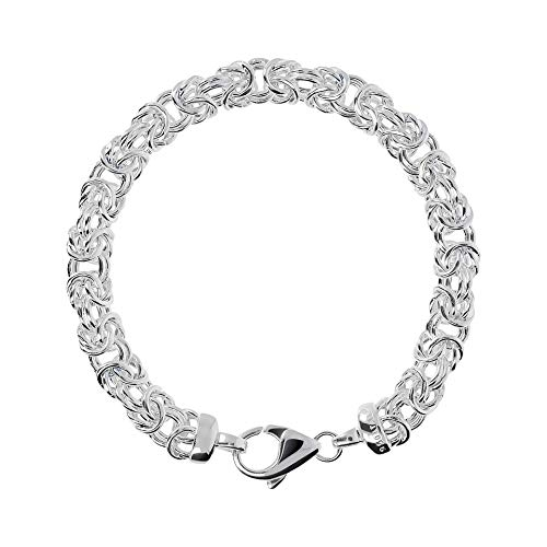 amazon collection inspired silver bracelets 950 Milano Bracelet Sterling Silver 950 With Byzantine Chain Style 4 inc. For Women