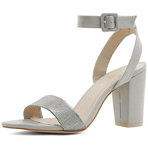 Allegra K Femme haut talon Bout ouvert sandales bride