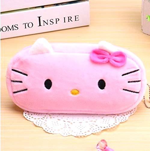 KIDDYBO Hello kitty Trousse toute douce en peluche pour stylos feutres crayons maquillage sac de voyage pochette sac enfant bébé école crèche (Hello kitty rose)