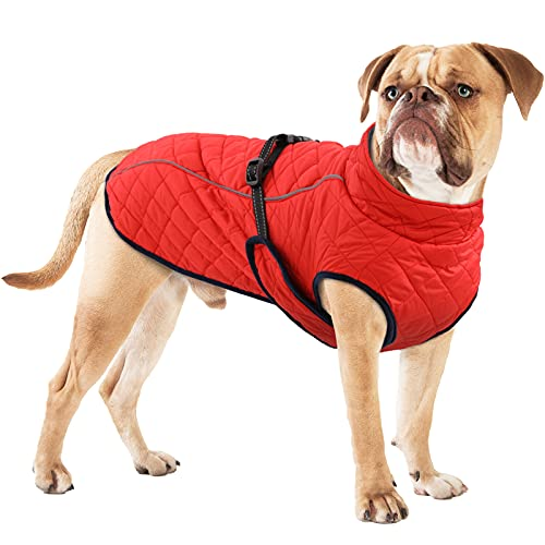 OUOBOB Dog Winter Coat, Windproof Pet Cold Weather Jacket Adjustable Dogs Apparel Clothes Vest Warm...