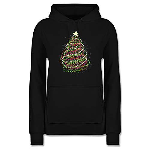 Weihnachten & Silvester - Abstrakter Weihnachtsbaum - M - Schwarz - Pullover weihnachtsmotiv led - JH001F - Damen Hoodie und Kapuzenpullover für Frauen