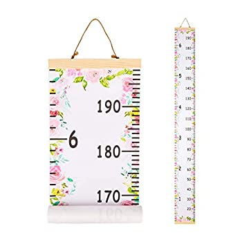 Beinou Baby Growth Chart Ruler for Kids Wood Frame Height Measure Chart 7.9in x 79in Canvas Hanging Height Growth Chart
