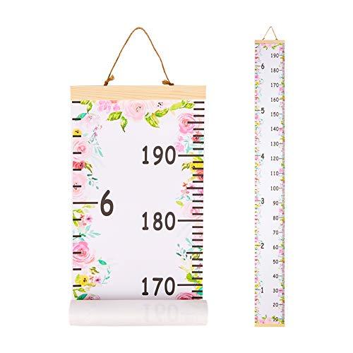 Beinou Wachstum Messlatte Dekorative Messlatten für Kinder Aufrollbare Messleiter Lineal Messtabelle für Baby Kinderzimmer Holzrahmen 7.9'' x 79'' Leinwand Wandbehang Blumen
