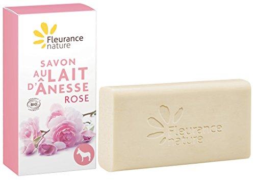 Fleurance Nature Savon au Lait d'Ânesse à la Rose Cosmétique Bio 100 g