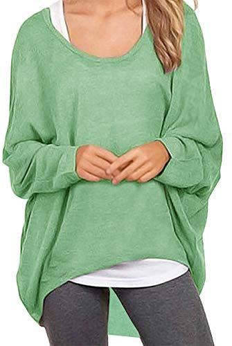 Meyison Damen Lose Asymmetrisch Sweatshirt Pullover Bluse Oberteile Oversized Tops T-Shirt Hellgrün S