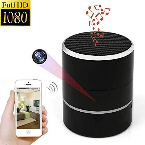 YOUYE Cámara Oculta 1080P WiFi HD Spy CAM Altavoces Bluetooth Minicámara inalámbrica Girar 180 ° Grabadora de Video Detección de Movimiento Vista en Tiempo Real Cámara Nanny