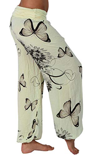 Fuxiang Damen Haremshose Leichte Yoga Bedrucken Hosen Pumphose Streetwear Sommer Pluderhose Aladinhose Baggy Strand Blumen Freizeithose Gelb S