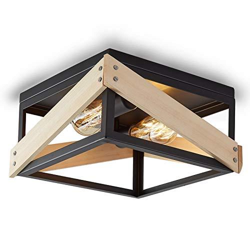 ENCOFT Iluminación de Techo de Interior en Metal y Madera, Lámpara de Techo Industrial Cuadrado con 2 Luz Base E27, para Dormitorio Sala de Estar Comedor, Negro Sin Bombilla