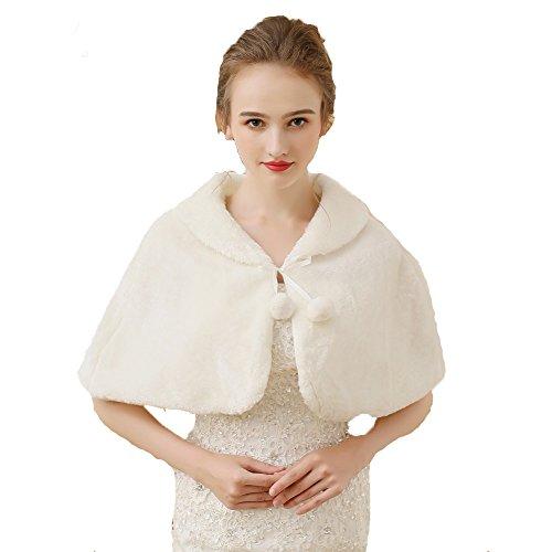 Unbekannt Brautjacke Bolero Fell Weiß Ivory Pelz Stola Hochzeit Wedding Bridal Kunstpelz (Ivory)