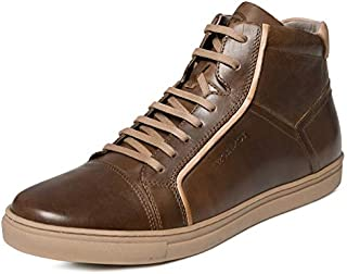 TONI ROSSI Men's Byrant Brown Leather Casual Sneakers
