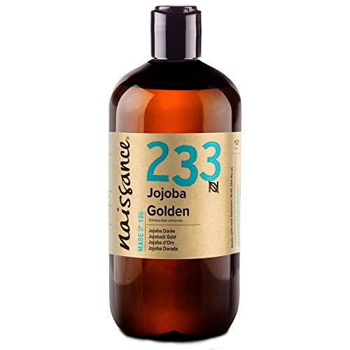Naissance Aceite Vegetal de Jojoba Dorada n. º 233 – 500ml - Puro, natural, prensado en frío, vegano, sin hexano y no OGM - Humecta y equilibra la piel, hidrata el cabello y todo el cuerpo.